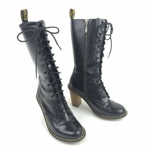 Dr. Martens Louise 14-Eye Boots Black Leather Heel